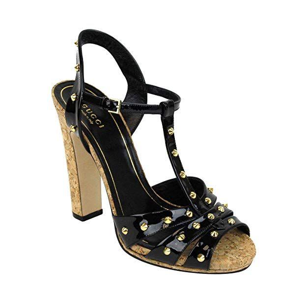 eb6ec1f217 Gucci Women s Black Jacquelyne Studs Patent Leather Platform Sandal (G 38    US 8) Disclosure  Advertisement