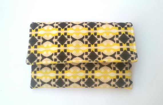 Bridesmaid clutch set of 4 - bridal party clutch, yellow and grey, handmade Etsy