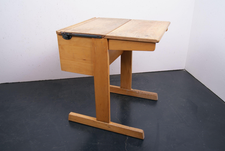 Children S Wooden Single School Desk With Half Lift Up Lid School Desks Wooden Wooden Desk