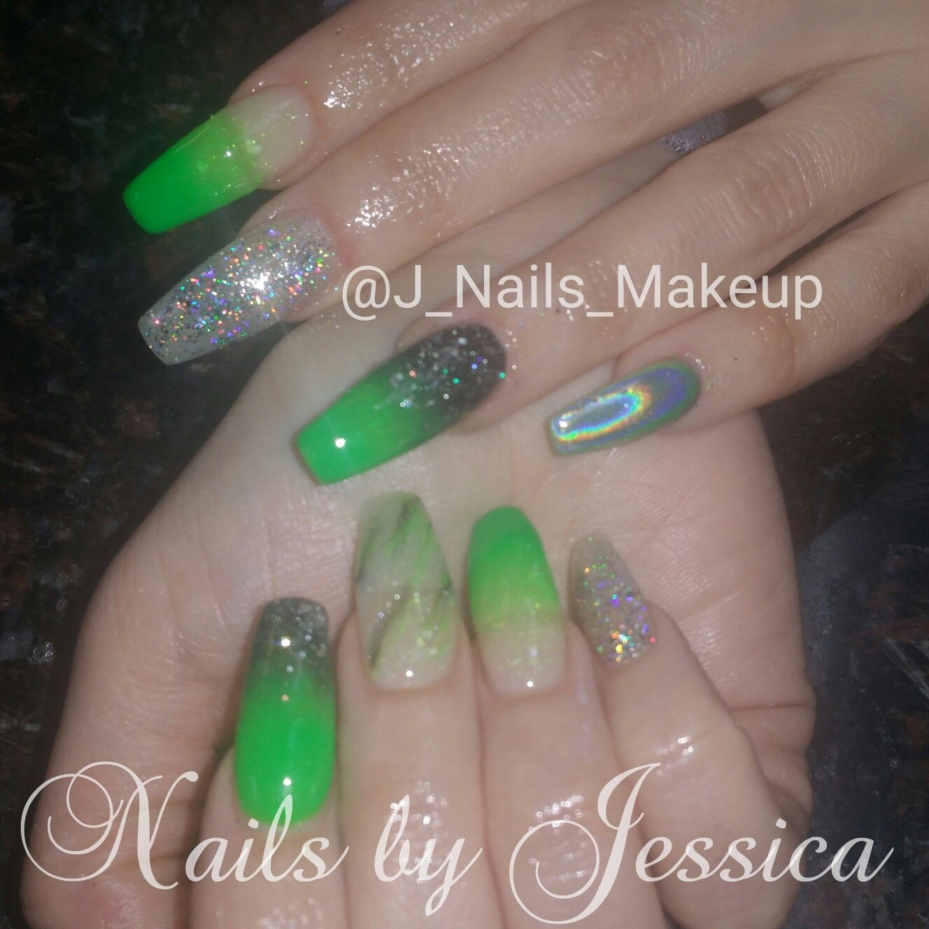 Neon Green Coffin Nails With Ombre Gel Polish Holographic Chrome