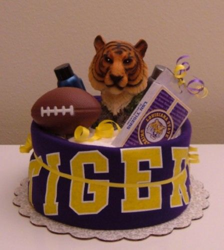 LSU Sock Cake With Menu0027s Bath Items You Could Also Stick A Scentsy LSU  Warmer Is To This.