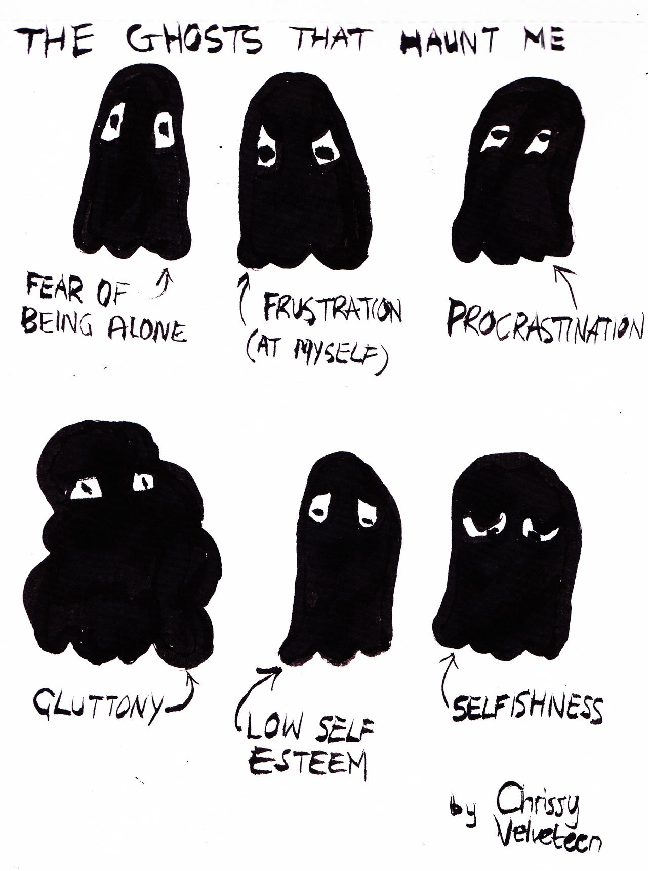 Idea Drawing Representations Of Ghosts That Haunt You Can Be Literal Or Abstract Art