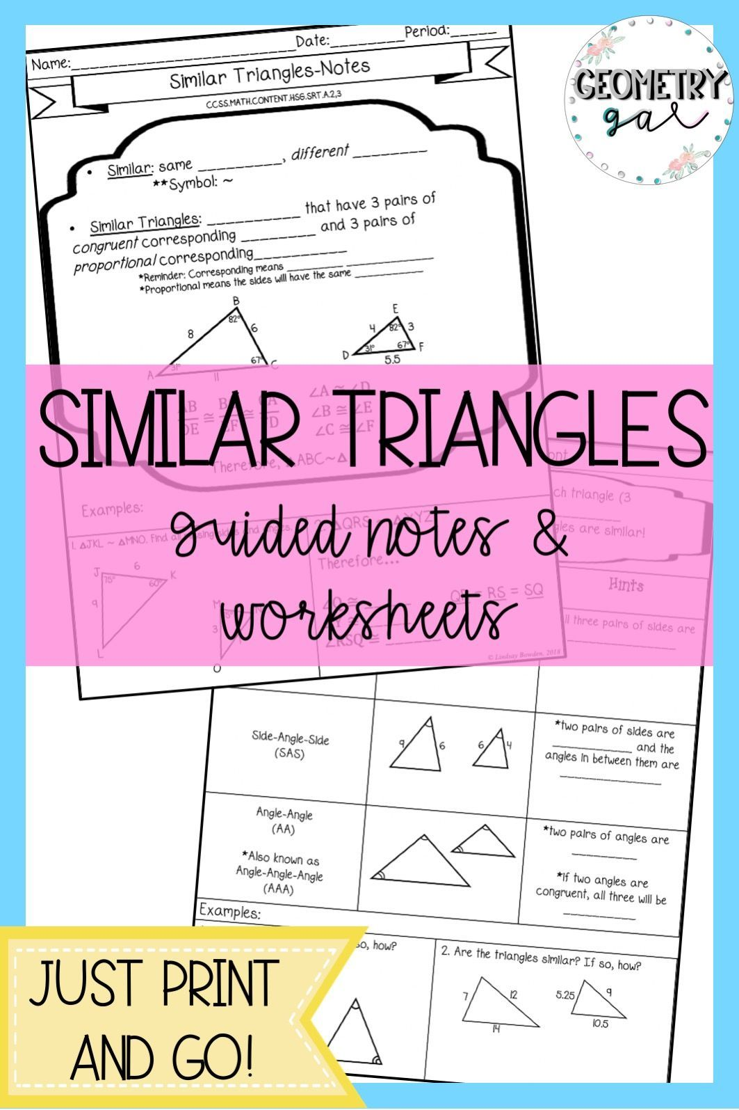 Similar Triangles Guided Notes And Worksheets Print And Go Lesson Fill In The Blank Notes Hel High School Geometry Notes Algebra Worksheets Similar Triangles