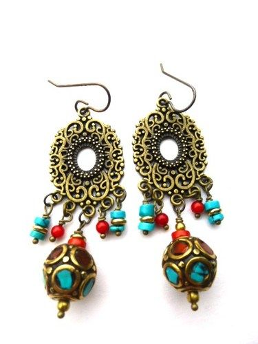 Coral Silver Plated 5 Grams Earring 1.5 Handmade Jewellry Blue Turquoise Nepali Work