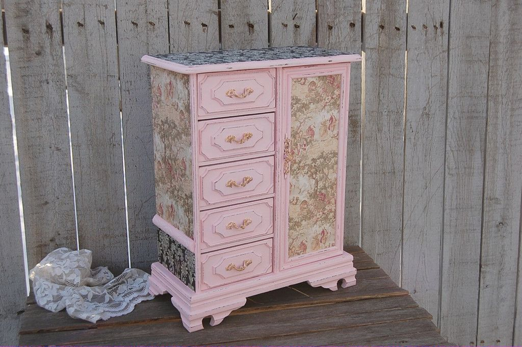 Pink toile music box and jewelry armoire