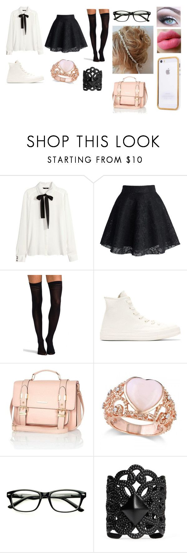 """Untitled #12"" by angelsbebitches ❤ liked on Polyvore featuring H&M, Chicwish, Pretty Polly, Converse, River Island, Allurez and Ela Stone"