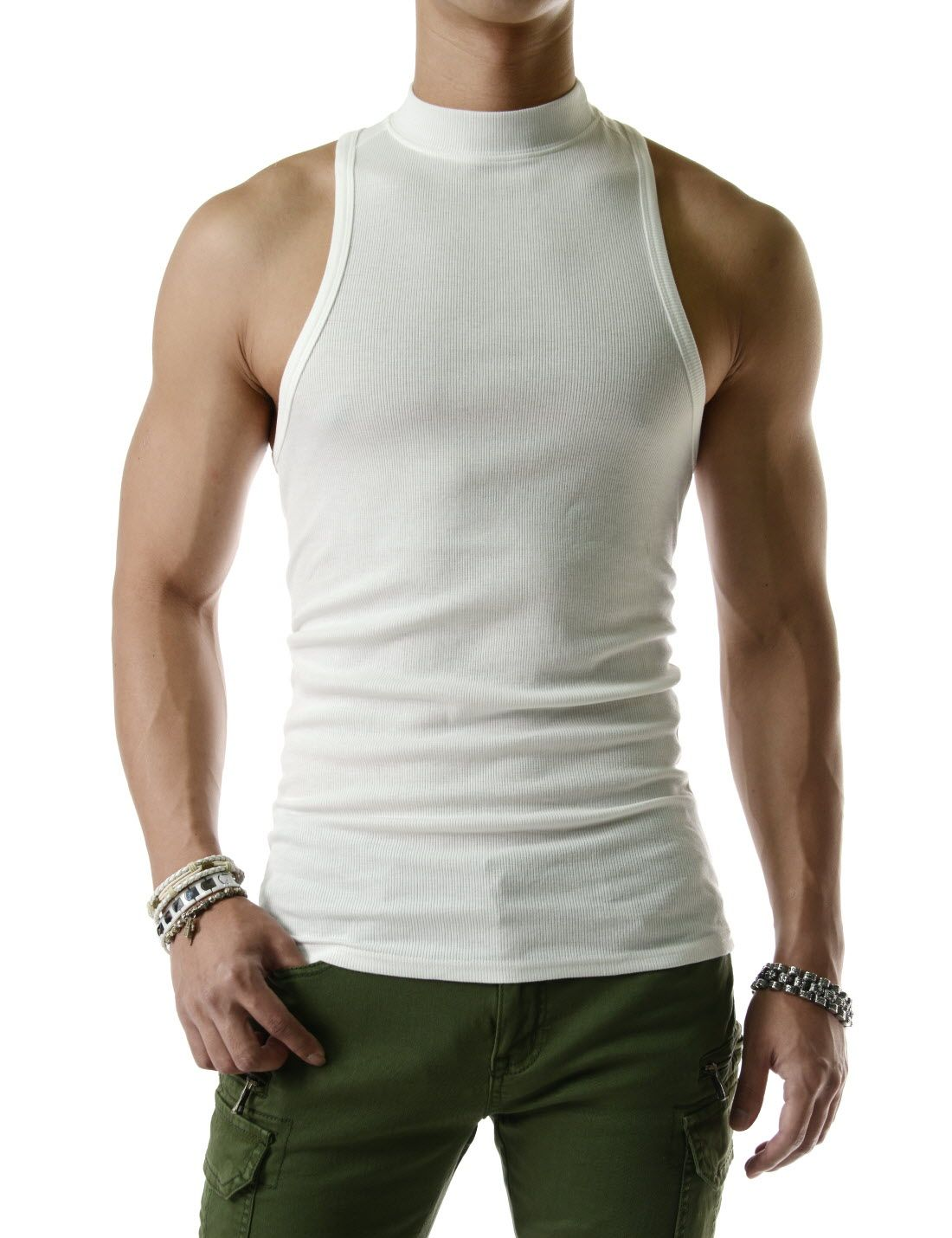 3e15b9dbdfa70 High Neck Tank Top 100% Cotton Sleeveless Tshirts