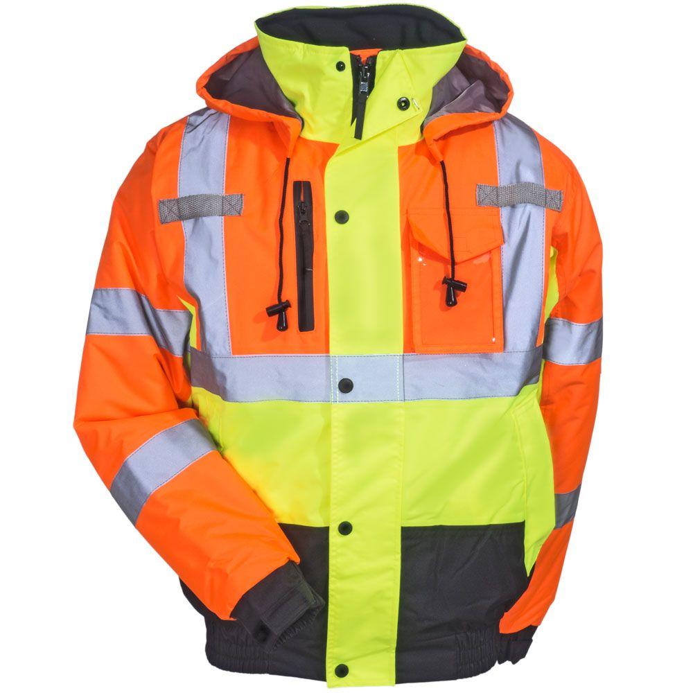 Radians Jackets Men S Sj12 3zms High Visibility Quilt Lined Hooded Bomber Jacket Hooded Bomber Jacket Jackets Work Jackets