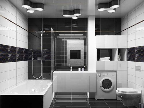 black tile bathroom 26 magical bathroom tile design ideas creativefan - Bathroom Tile Ideas Black And White