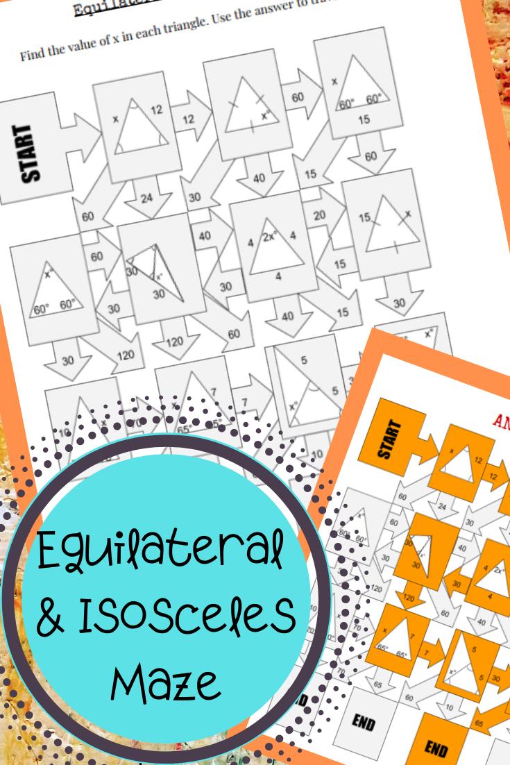 Equilateral Isosceles Maze Isosceles Triangle Activities Student Work