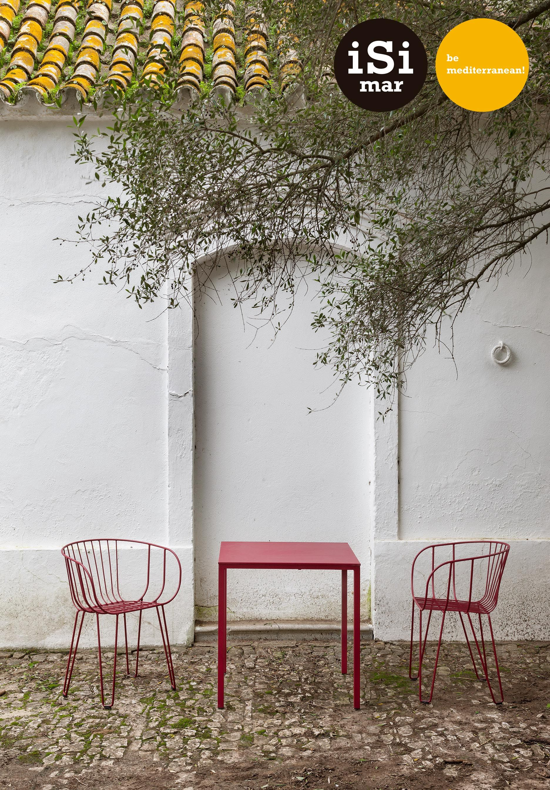 Olivo armchair & Itaca table all in red wine. Wire chair and ...