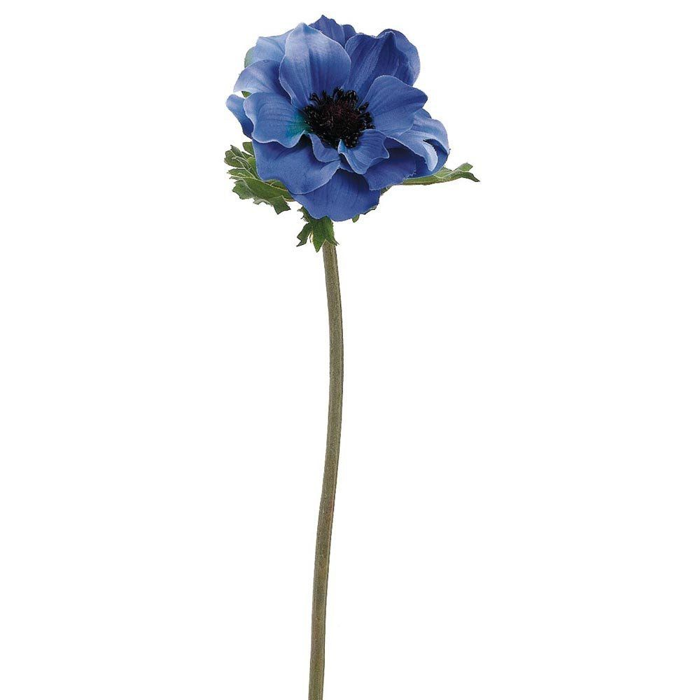 Blue Artificial Flower Anemone With Black Center 145 Artificial