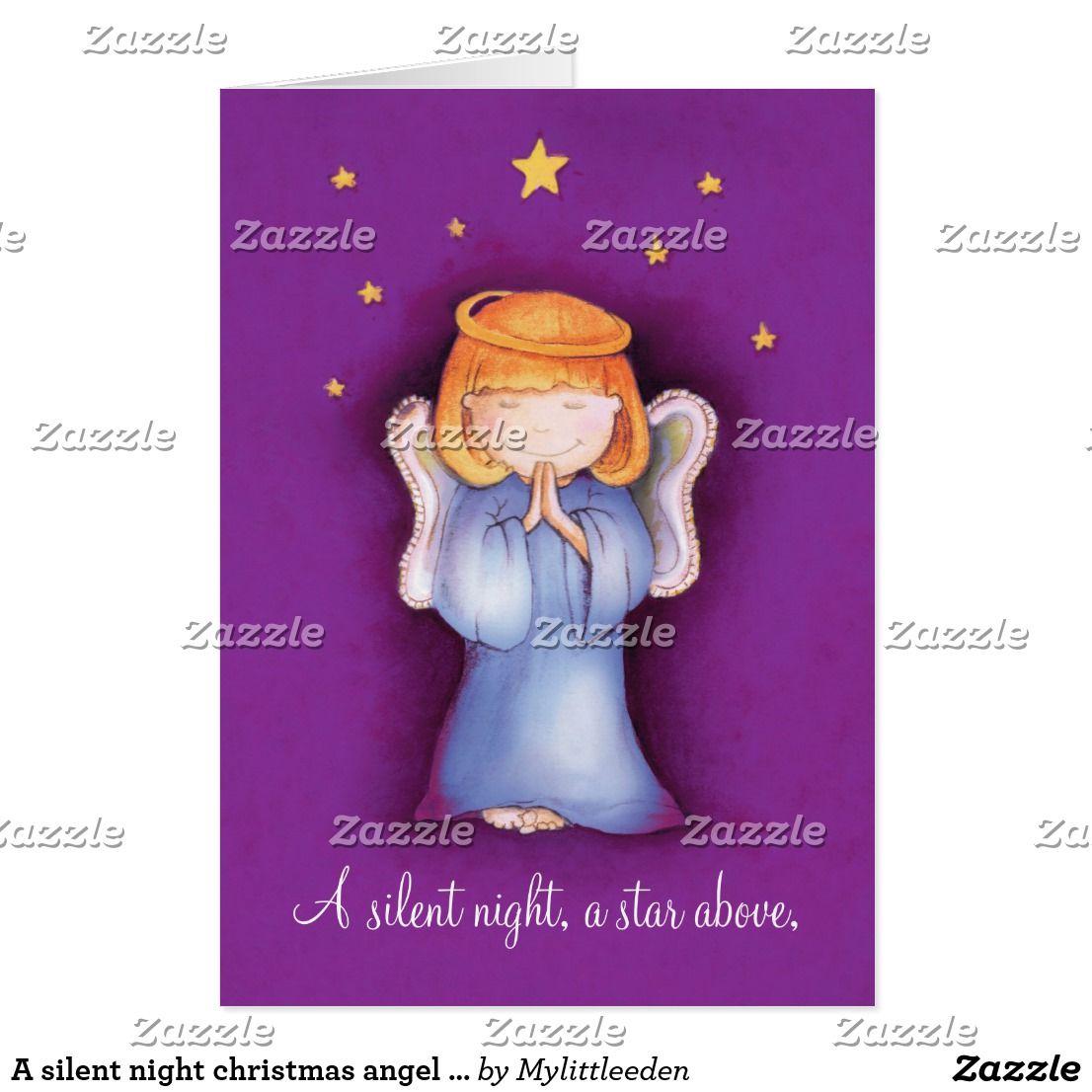 A silent night christmas angel greeting card mauve | Silent night