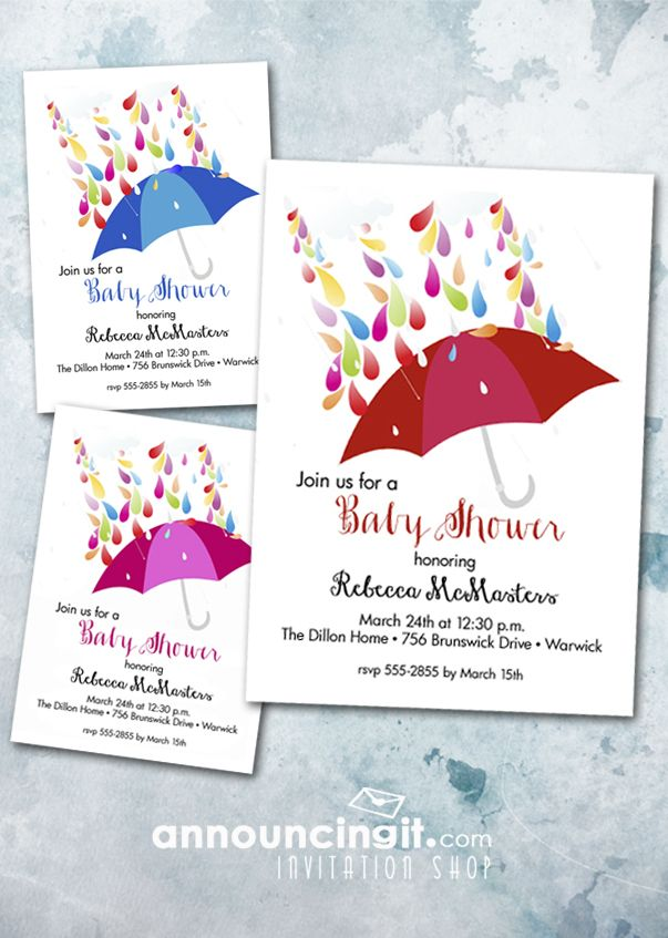 raindrops and umbrellas shower invitations shower invitations