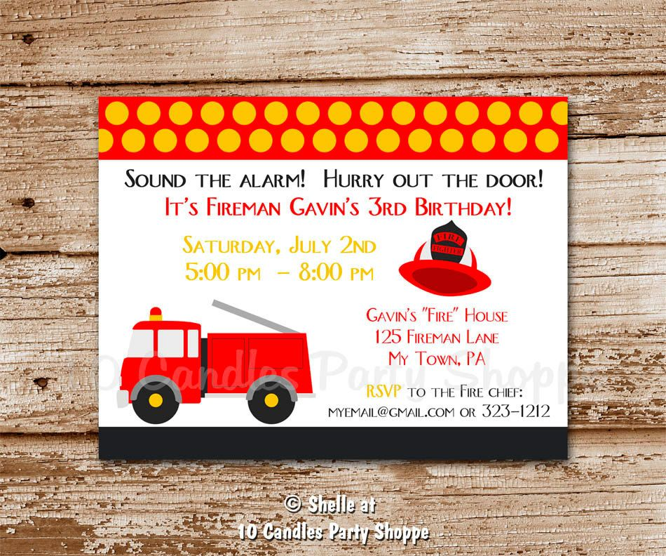 Fire Truck Invitation. DIY Printable Party. baby shower, birthday ...