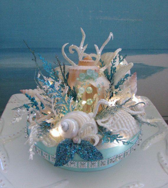 Seashell Coral Reef Wedding Cake TopperElegant Light Up Beach Topper