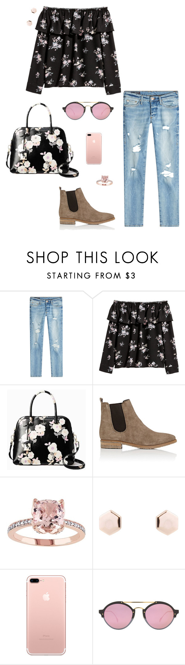 """""""Darling Flowers"""" by walzfashion ❤ liked on Polyvore featuring True Religion, Kate Spade, Barneys New York and Illesteva"""