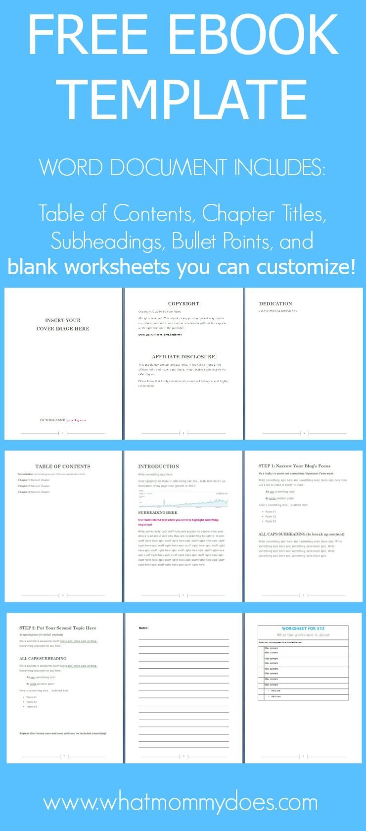 Free Ebook Template - Preformatted Word Document | Template, Free ...
