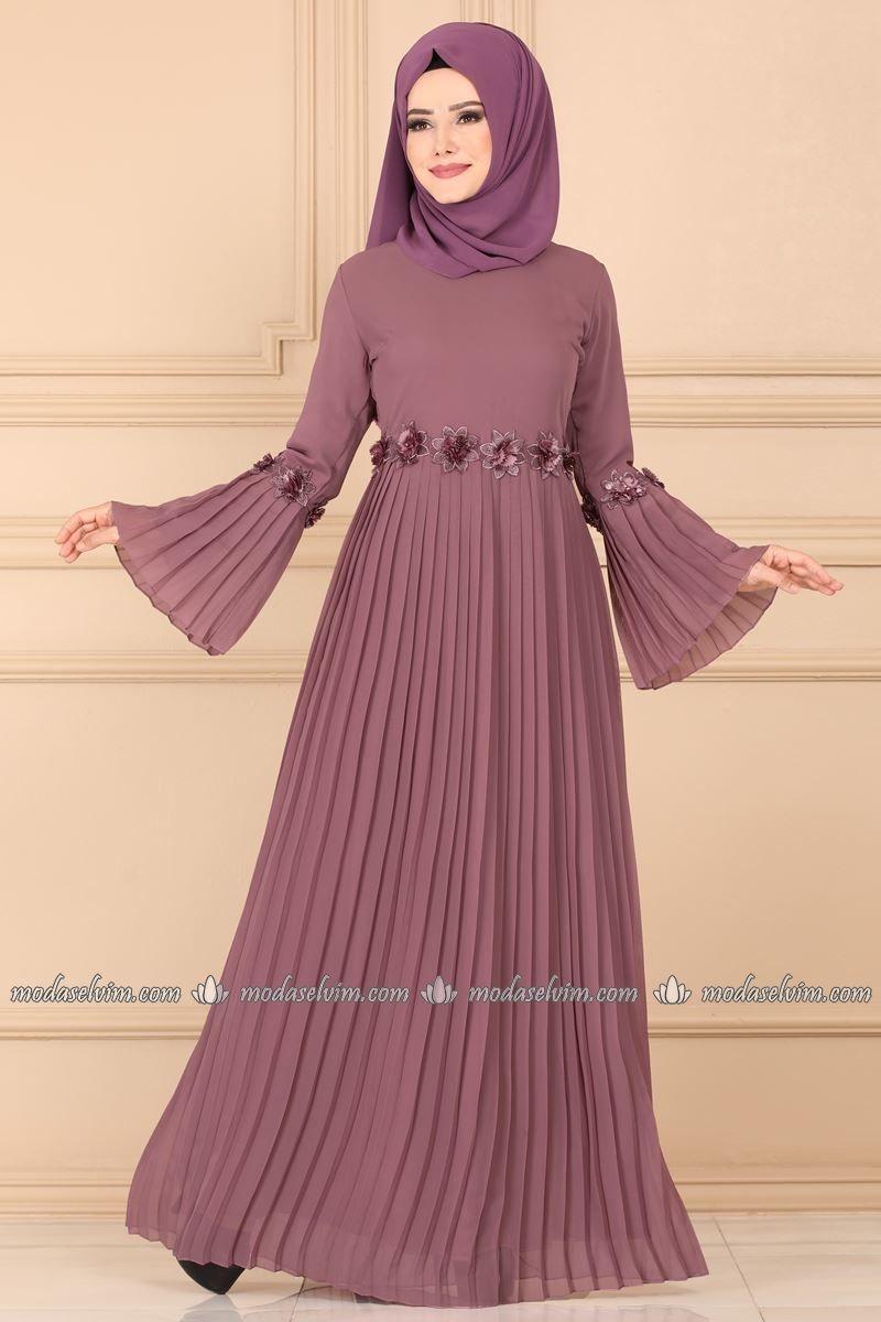 Piliseli Sifon Tesettur Elbise Ech7352 Gul Kurusu Moda Selvim Moda Stilleri The Dress Islami Giyim