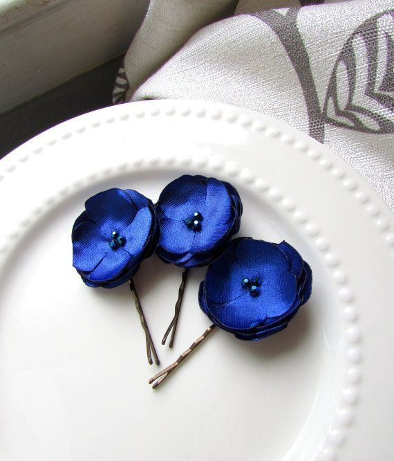 Set Of 3 Blue Bridesmaid Hair Accessories Small Silk Flowers For