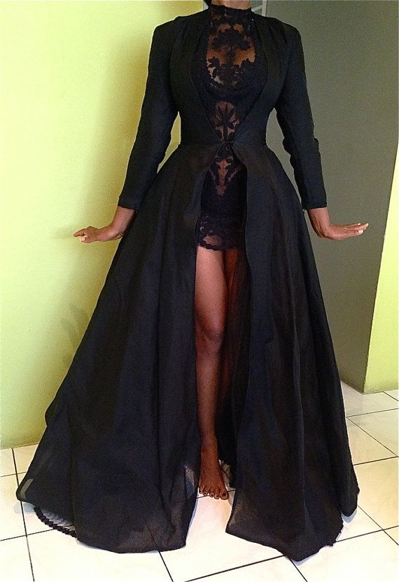 5b49f5d95e84 Black Two-Pieces Detachable Prom Dresses Long Sleeves Lace Sexy Party  Dresses