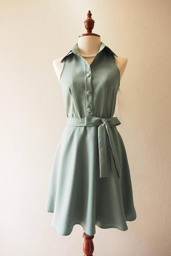 Salbei Farbe salbei grün farbe nr 198 shirt kleid im vintage und doch modernen