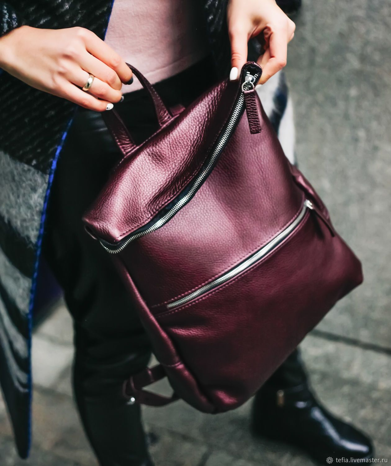 87782c9b8 BURGUNDY BAGPACK FR-07 – shop online on Livemaster with shipping ...