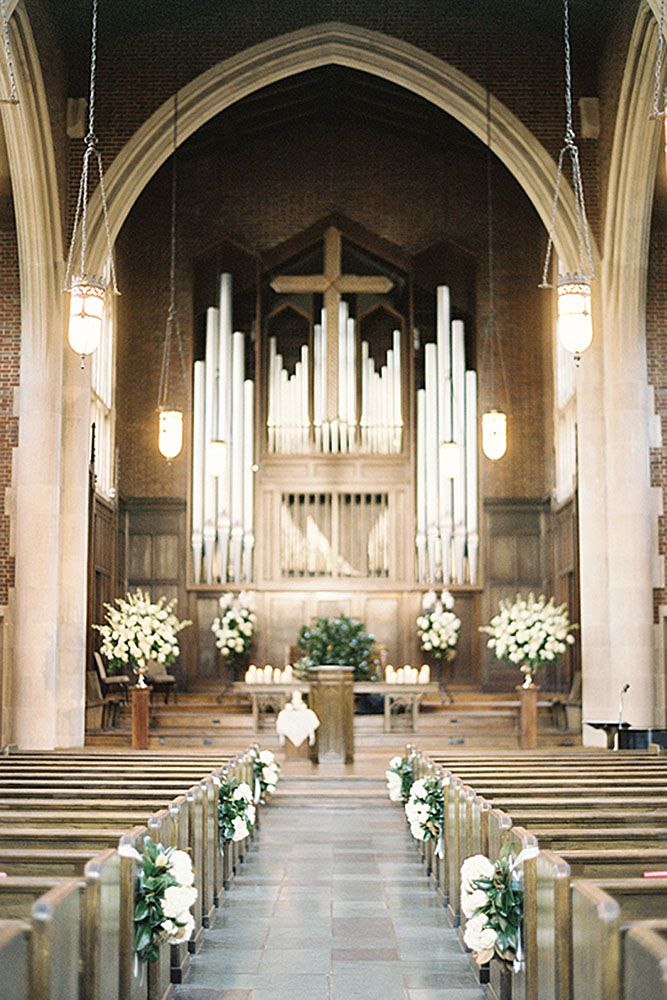 45 breathtaking church wedding decorations pinterest church church wedding decorations the hall is decorated with white flowers jen huang photo junglespirit Images