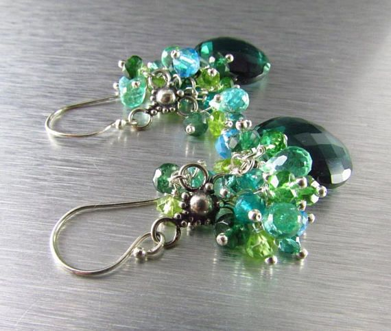 Teal Green Quartz With Peridot Green Apatite Blue Topaz and
