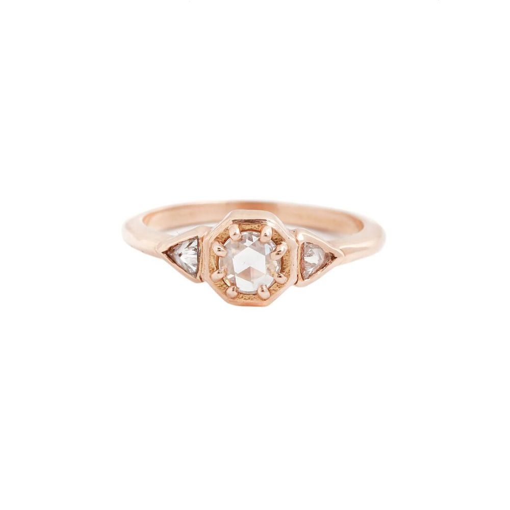 18k rose gold ring with three diamonds.  0.23 ct white rose cut center.  0.09 ct matching white trillions.  Total carat weight: 0.32 ct.  R91GR .2ct