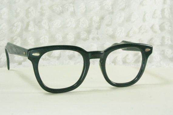 a70a6d0bd051 Vintage 60s Mens Glasses 1950s Black Eyeglasses American Optical Squared G  Man 48/24 Original