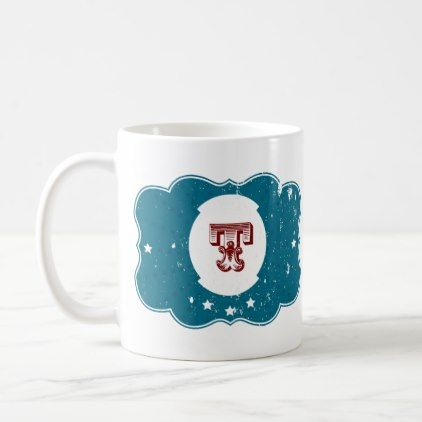 "#initial - #Letter ""T"" Monogram. Blue and Red Vintage Style Coffee Mug"