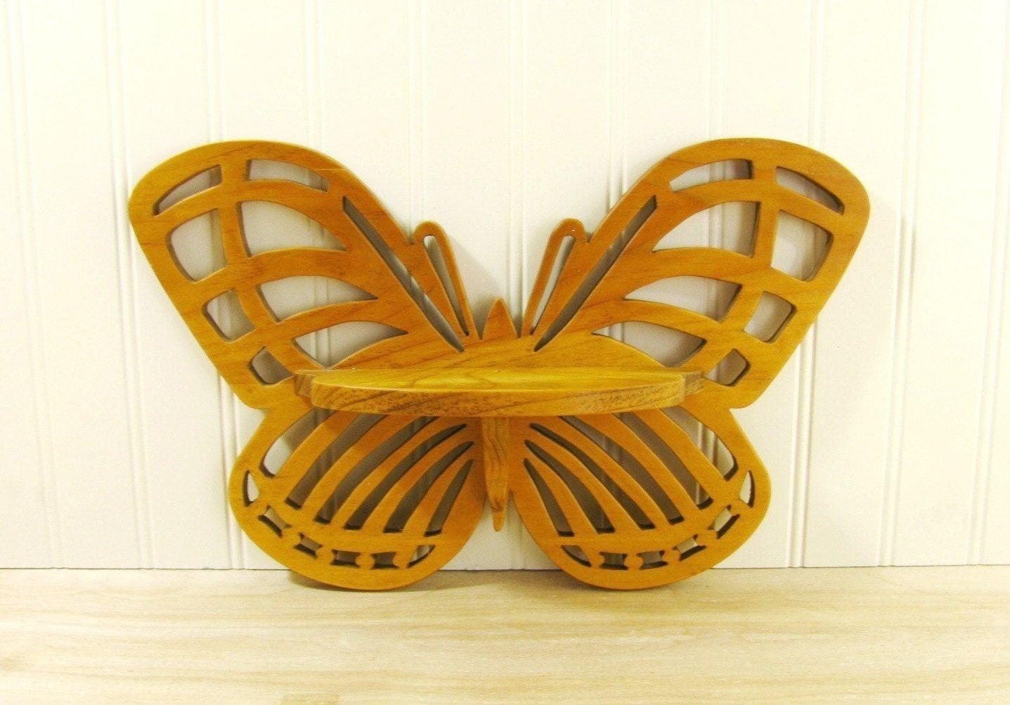 Vintage Butterfly Shelf Wooden Butterfly Decor Butterfly Wall Decor ...