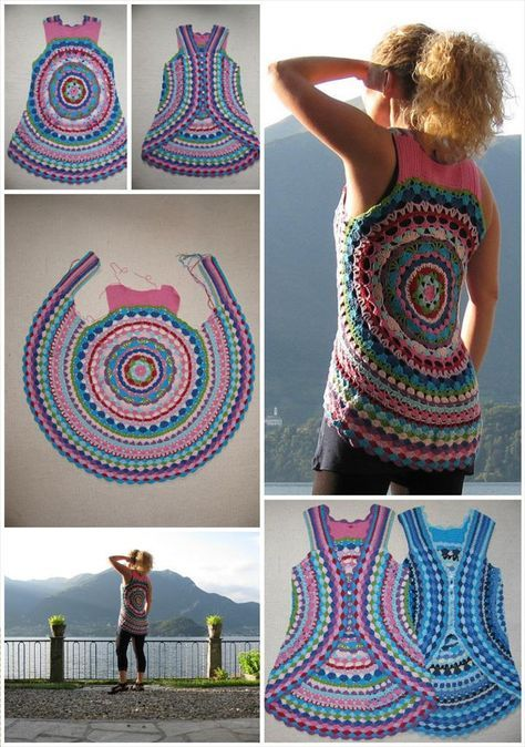 12 Free Crochet Patterns For Circular Vest Jacket Crochet Free