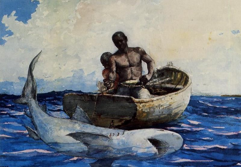 Shark Fishing, Watercolour by Winslow Homer (1836-1910, United States)