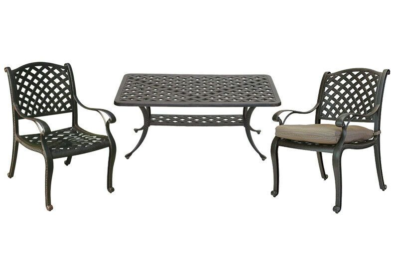 3 Piece Patio Bistro Set Nassau Outdoor Coffee Table And Chairs Desert Bronze Nassau Patio Deck V Outdoor Coffee Tables Bistro Patio Set Wicker Dining Set
