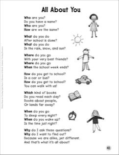 all about you question words sight words poem kindergarten tools english poems for kids. Black Bedroom Furniture Sets. Home Design Ideas