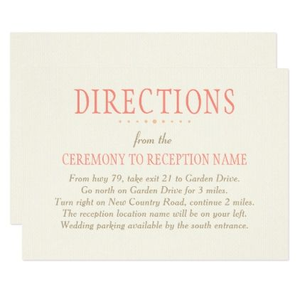 Wedding Directions Card Country Fls Pink Rustic Marriage Love Cyo
