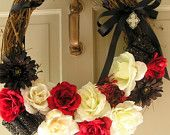 Gothic Inspired Wedding Wreath or Home Decor, Black, Red, White with rhinestone pendant decoration, 18 inches