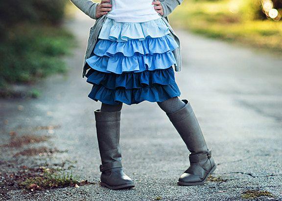 "NEW FALL: Ruffle Rumba  Skirt - ""Madison Rae"" Blue Crush Ombre - Girls 18m, 2, 3/4, 5/6, 7/8  KJR Original. $38.00, via Etsy."