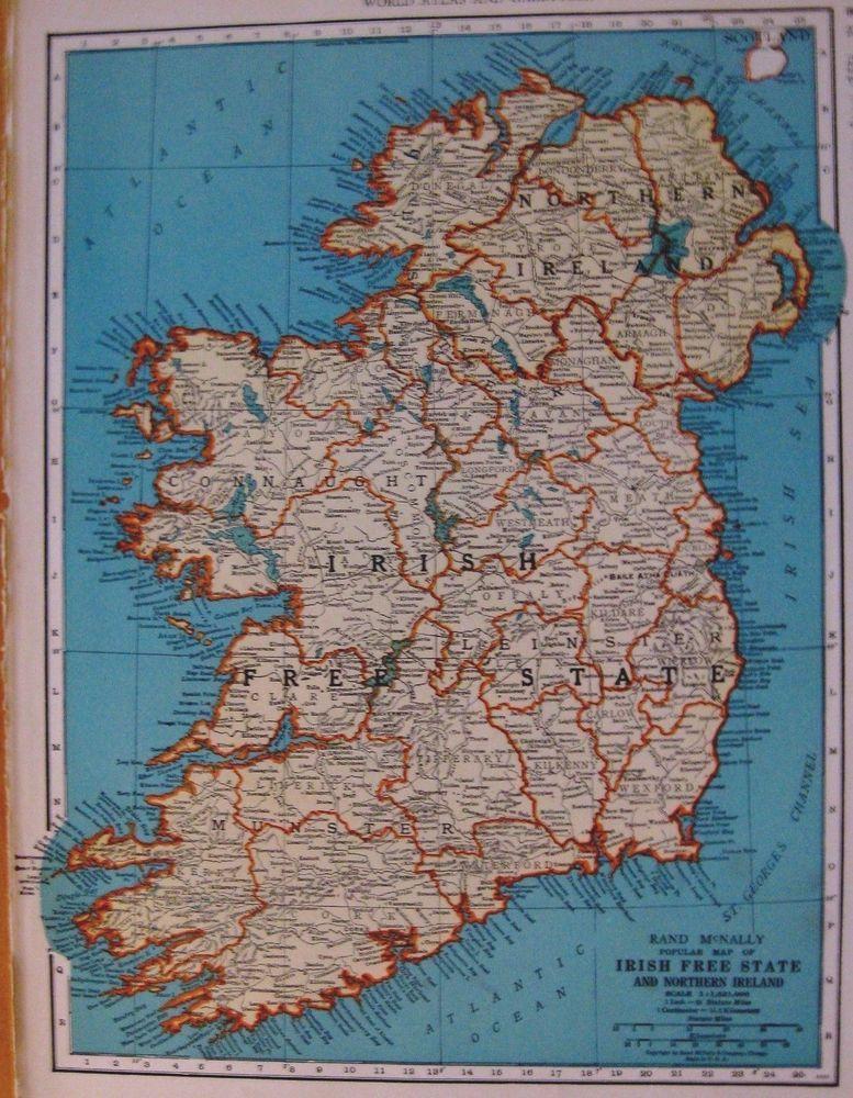 1938 Antique Ireland Map Irish Free State 1930s Map Gallery Wall Art