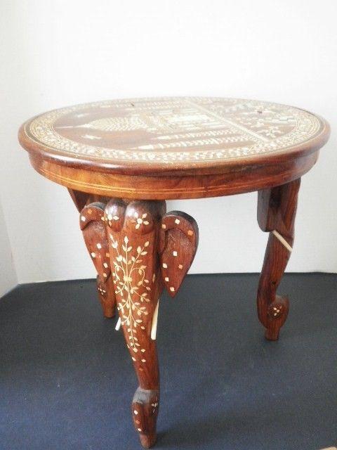 Inlaid Bone Taj Mahal Elephant Table Pascalene Etsy Diy W Wood