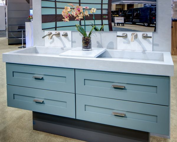 Corian Vanity Countertops : Corian seafoam display at kbis bathrooms