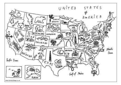 Map Of United States Coloring Page.Usa Map Coloring Page Love The Little Symbols Social Studies