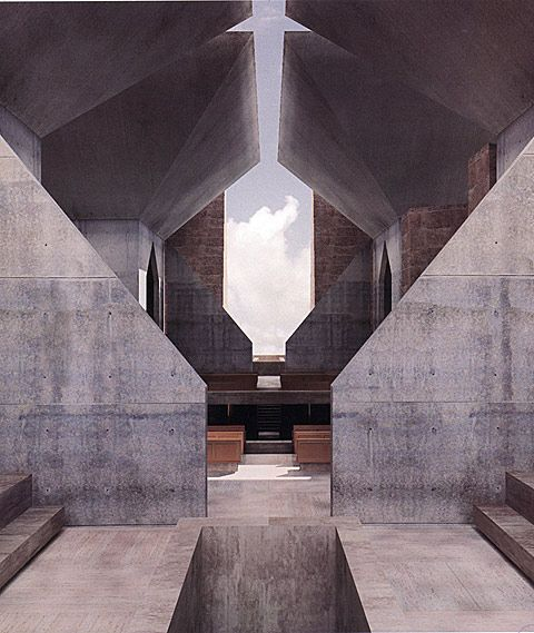 Louis Kahn's unbuilt Hurva Synagogue, as rendered by Kent Larsen for the book Unbuilt Masterworks, a collection of digital constructions of Kahn's proposals.