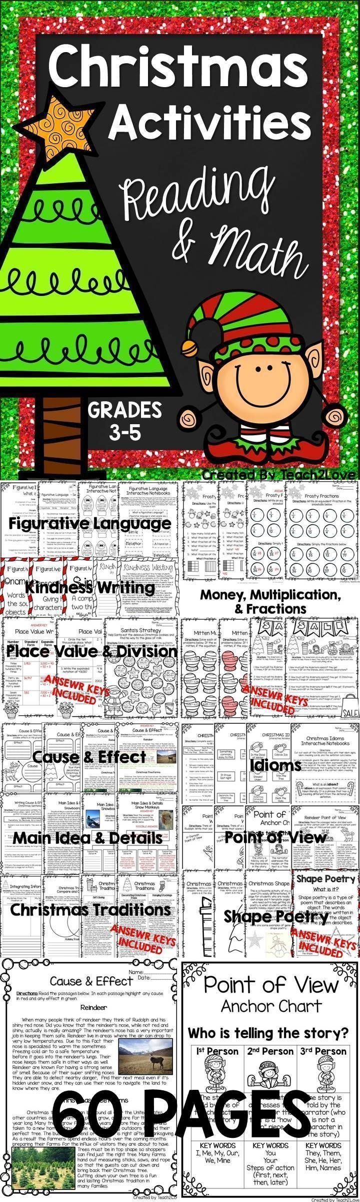 christmas activities no prep reading and math maths activities