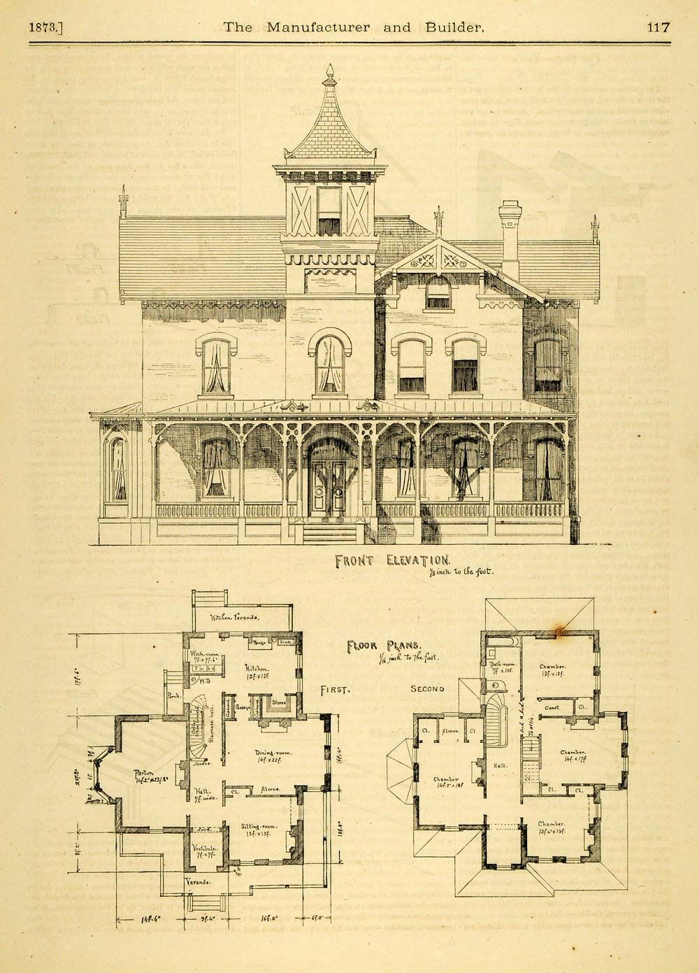 1873 print house home architectural design floor plans for Architectural house plans