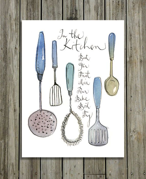 Kitchen Utensils Illustration 8x10 Print Watercolor Kitchen Poster Retro Housewares Blue Grey Kitchen Arte De Cocina Cuadros De Cocina Imagenes De Cocina