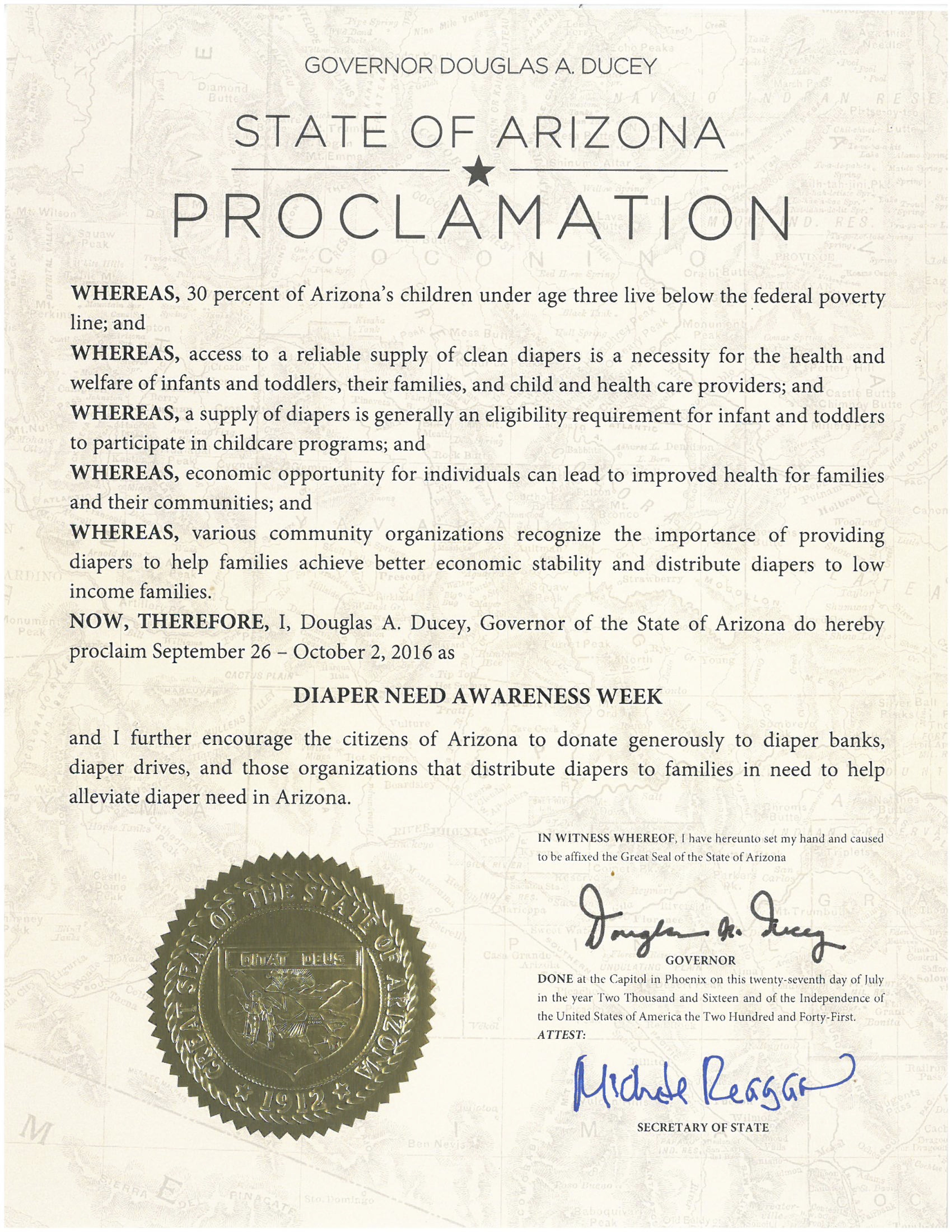 ARIZONA - Governor Doug Ducey's proclamation recognizing Diaper Need Awareness Week (Sep. 26 - Oct. 2, 2016) #diaperneed diaperneed.org