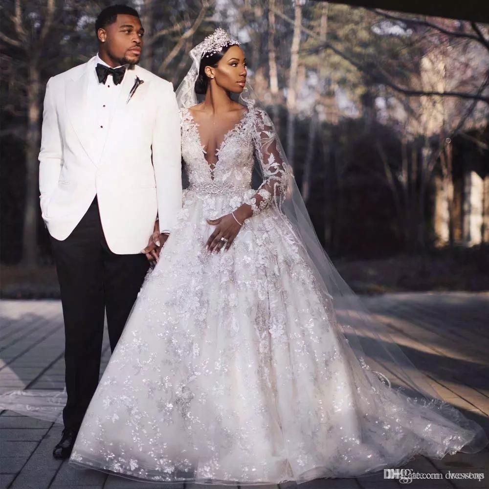 ball gown see through long sleeve sheer neck gorgeous wedding